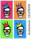 pop art skull icons vector...   Shutterstock .eps vector #251298109