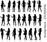 black silhouettes of beautiful... | Shutterstock . vector #251303356