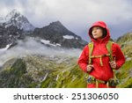 Alps Hiking   Asian Hiker Woma...