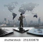 businessman pressing on digital ... | Shutterstock . vector #251333878