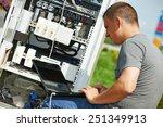 engineer working with laptop... | Shutterstock . vector #251349913