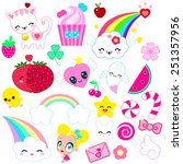 cute and kawaii set of 25 items ... | Shutterstock .eps vector #251357956
