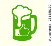green beer icon with thumbs up  ... | Shutterstock .eps vector #251358130