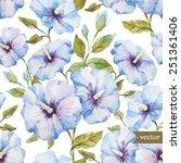 pattern  watercolor  hibiscus | Shutterstock .eps vector #251361406