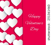 paper 3d hearts pink background ... | Shutterstock .eps vector #251361460