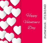 paper 3d hearts pink background ... | Shutterstock .eps vector #251361460