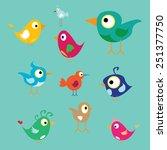 vector cute birds | Shutterstock .eps vector #251377750