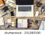 mix of office supplies and... | Shutterstock . vector #251385100