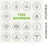 set of round and outlined tree... | Shutterstock .eps vector #251392810