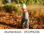 baby playing with autumn leaves | Shutterstock . vector #251396236