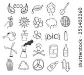 ecology icons set drawn black... | Shutterstock .eps vector #251402260