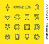 diamonds vector line icons set  | Shutterstock .eps vector #251408470