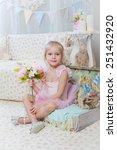 little girl sitting on small... | Shutterstock . vector #251432920