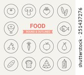 set of round and outlined food...