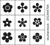Set Of Simple Flat Flower Icon...