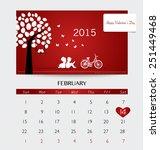 valentines day. 2015 calendar... | Shutterstock .eps vector #251449468