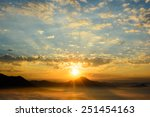 silhouette rising sun over the... | Shutterstock . vector #251454163