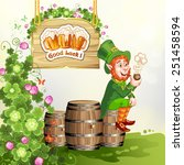 leprechaun sitting on barrels... | Shutterstock . vector #251458594