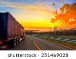 truck on road on europe map... | Shutterstock . vector #251469028