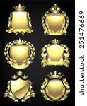 gold crowned shield heraldry set   Shutterstock .eps vector #251476669