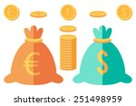 set of dollar and euro coins... | Shutterstock .eps vector #251498959