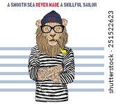 illustration of lion sailor | Shutterstock .eps vector #251522623