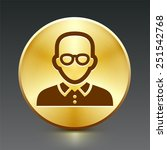 male with glasses on gold round ...