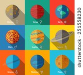 flat icons set   planets with... | Shutterstock .eps vector #251558230