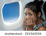 frightened woman sitting at the ... | Shutterstock . vector #251563534