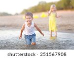 portrait of a boy and girl on... | Shutterstock . vector #251567908