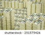 Piles of Dollar bills - stock photo