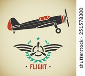 retro flat looking plane and... | Shutterstock . vector #251578300