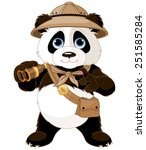 panda  safari explorer with... | Shutterstock .eps vector #251585284