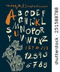 alphabet and numbers hand drawn ...   Shutterstock .eps vector #251588788