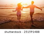 silhouette of couple on the... | Shutterstock . vector #251591488