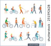 Stock vector people on the street neighbors flat icons 251592628