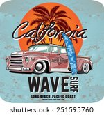 vector pacific surf wave print | Shutterstock .eps vector #251595760