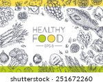 healthy vegetables frame.... | Shutterstock .eps vector #251672260