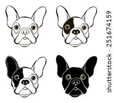french bulldog. vector set of ... | Shutterstock .eps vector #251674159