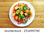 overhead view of a plate of... | Shutterstock . vector #251690740