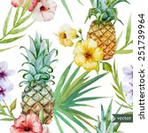 tropical pattern  pineapple ... | Shutterstock .eps vector #251739964