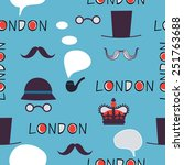 blue london pattern with hats... | Shutterstock .eps vector #251763688