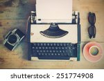 vintage typewriter and vintage... | Shutterstock . vector #251774908