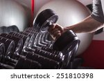 gym equipment  hand holding... | Shutterstock . vector #251810398