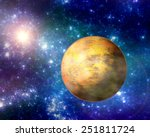 Deep space sandy exoplanet illustration - stock photo