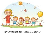 teacher leading kids for a walk ... | Shutterstock .eps vector #251821540