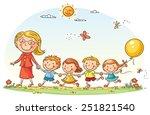 teacher leading kids for a walk ... | Shutterstock .eps vector #251821540