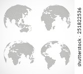 set of vector dotted globes | Shutterstock .eps vector #251822536