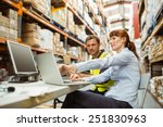 warehouse worker and manager... | Shutterstock . vector #251830963