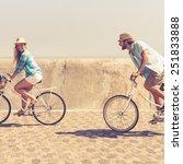 cute couple on a bike ride on a ...   Shutterstock . vector #251833888